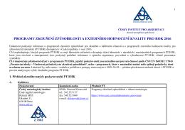 programy zkoušení způsobilosti a externího hodnocení kvality pro