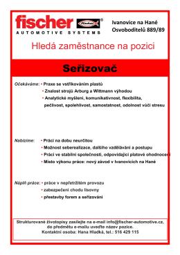 Seřizovač - fischer automotive systems