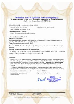 Prohlášení o shodě výrobku s technickými předpisy
