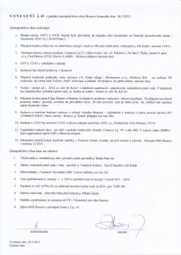Usnesení ZO z 25.2.2015