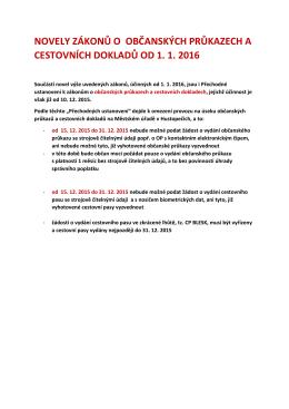 novely zákonů o občanských průkazech a cestovních dokladů od 1