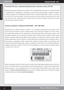 Technické informace k eletrotvarovkám - TITAN