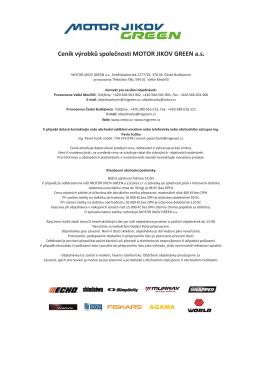 Ceník výrobků společnosti MOTOR JIKOV