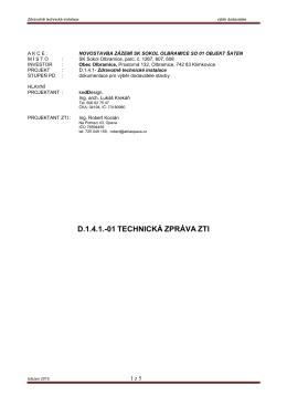 D1.4.1-01 technická zpráva ZTI
