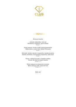 – MENU – - Fashion Club, Prague