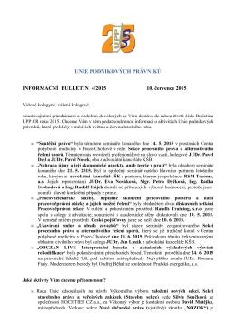 Informační Bulletin č. 4/2015 - Unie podnikových právníků ČR zs