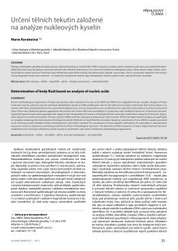 Určení tělních tekutin založené na analýze nukleových kyselin