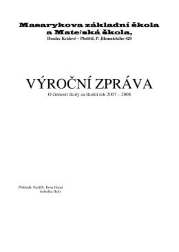 Výroční zprávy 2007 – 2008 - Masarykova základní škola a