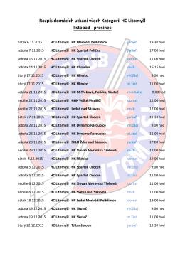 Rozpis domácích utkání všech Kategorii HC Litomyšl listopad