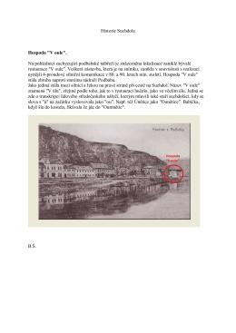 """Historie Suchdola Hospoda """"V oule"""". Na pohlednici zachycující"""