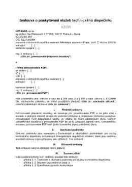 Smlouva o poskytování služeb technického dispečinku
