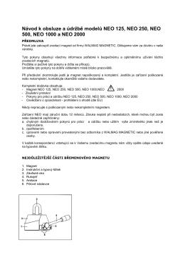 Návod k obsluze a údržbě modelů NEO 125, NEO 250