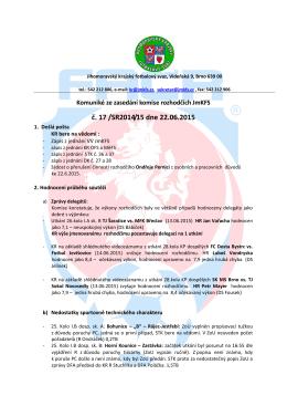 Komuniké ze zasedání KR č.17 - Jihomoravský krajský fotbalový svaz