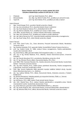 Složení Vědecké rady SU OPF pro funkční období 2015