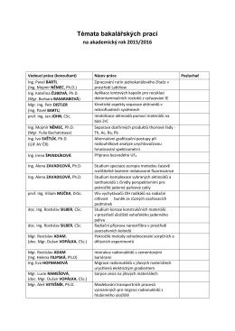 Témata bakalářských prací