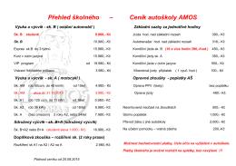 Přehled školného – Ceník autoškoly AMOS