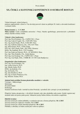 1. cirkulář - Agrobiologie