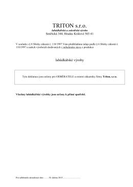 Složení lahůdkářských výrobků pro odběratele 2015