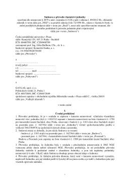 Smlouva o převodu vlastnictví jednotky