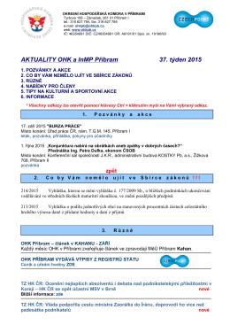 AKTUALITY OHK a InMP Příbram 37. týden 2015