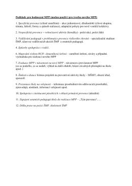 Hodnocení MPP – konkrétní postup komise při vyhodnocování MPP