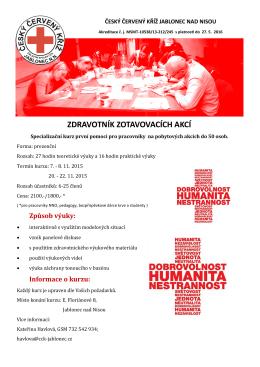 zdravotník zotavovacích akcí - Český červený kříž Jablonec nad Nisou