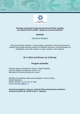 """Seminář """"Ochrana designu"""" 30. 9. 2015 od 9.30 hod. do 12.30 hod"""