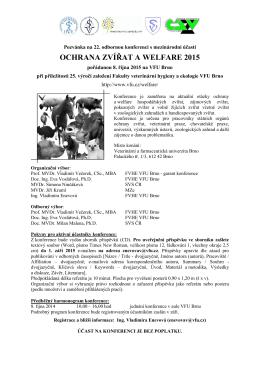 ochrana zvířat a welfare 2015 - Fakulta veterinární hygieny a ekologie