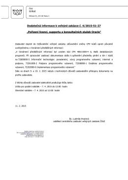 Dodatečná informace k veřejné zakázce č. 4/2015-51