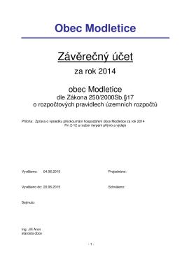 Závěrečný účet 2014 návrh