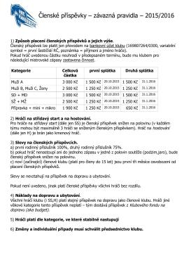 Členské příspěvky – závazná pravidla – 2015/2016