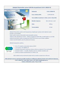 Základní Photovoltaic system 9,84 kW od společnosti SWH GROUP