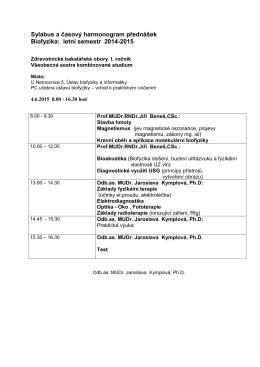Sylabus a časový harmonogram přednášek Biofyzika: letní semestr