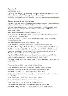 Tiráž ke stažení - Časopis Psychoterapie FSS MUNI