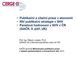 • Publikační a citační praxe v ekonomii • RIV publikační strategie v