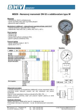 MSD9 - Nerezový manometr DN 63 s oddělovačem typu W