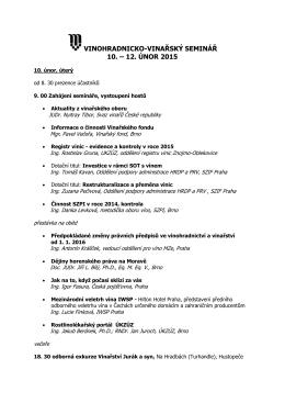 vinohradnicko-vinařský seminář 10. – 12. únor 2015