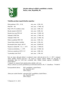 seznam strojů a zařízení k prodeji