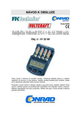 Návod k nabíječce Voltcraft-IPC1 od fi Conrad ke stažení zde