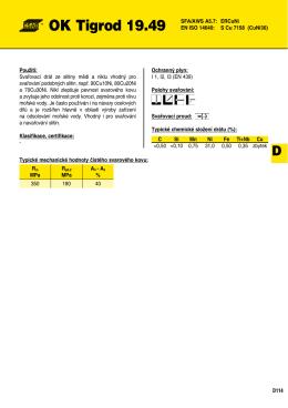 OK Tigrod 19.49 SFA/AWS A5.7: ERCuNi EN ISO 14640: S Cu 7158