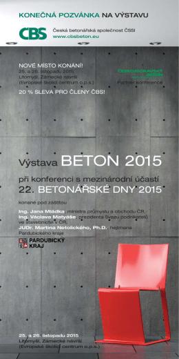 Pozvánka na výstavu - Česká betonářská společnost ČSSI