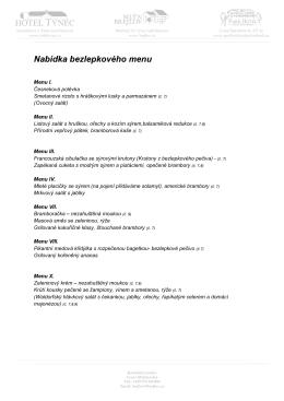 Nabídka bezlepkového menu