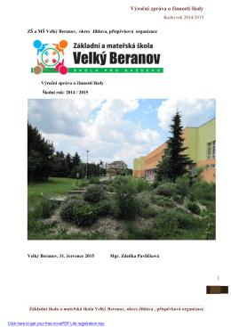 Výroční zpráva 2014/15 - Základní škola Velký Beranov
