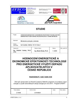 studie hodnocení energetické a ekonomické efektivnosti technologií