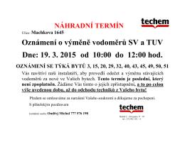 Oznámení o výměně vodoměrů SV a TUV Dne: 19. 3. 2015 od 10:00