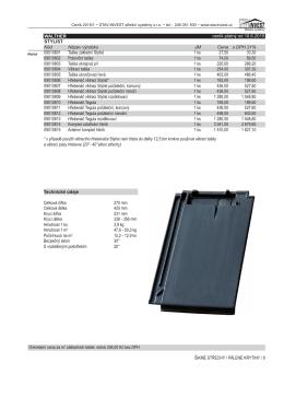 Orientační cena za m2 základních tašek: režná 336 - STAV