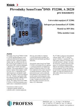 Převodníky SensoTrans ® DMS P32200, A 20220 pro tenzometry