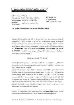 V Praze dne: 20.4.2015 Číslo jednací: 063292/2015/KUSK OŽP/Fok