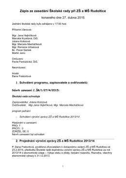 Zápis z jednání ŠR ze dne 27. 4. 2015