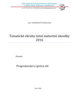 Programování a správa sítí
